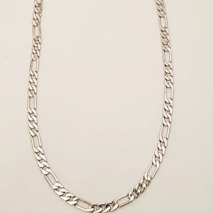 Rhodium Layered Medium Figaro Necklace.  UNISEX.